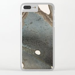 Abstract map blue and black ink drawing Clear iPhone Case