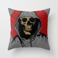 returns Throw Pillows featuring Skullboy Returns by Matthew Dunn