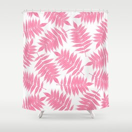 Modern girly pink botanical tropical leaves Shower Curtain