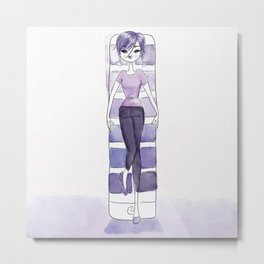 Woman dressed in Pantone ultra violet against a big pantone book Metal Print