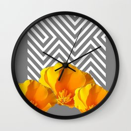 ABSTRACT CONTEMPORARY YELLOW POPPIES PATTERNS Wall Clock