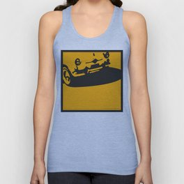 Fiat 600 Detail, Yellow on Black Unisex Tank Top
