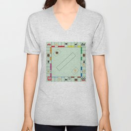 Monopoly Print Currency Game Unisex V-Neck