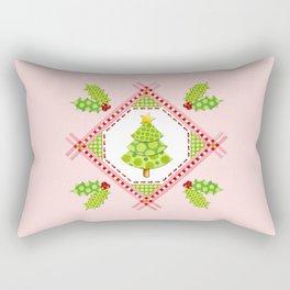 Pink Polka Dot Holiday Tree Rectangular Pillow