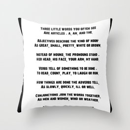 Parts of Speech Rhyme Throw Pillow