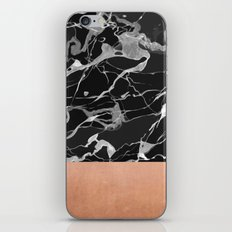 Black marble and pink copper iPhone & iPod Skin