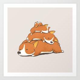Comfy Bed - CORGI Art Print