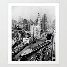 Largest travel Chicago River Chicago Illinois Art Print