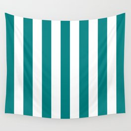 Vertical Stripes (Teal/White) Wall Tapestry