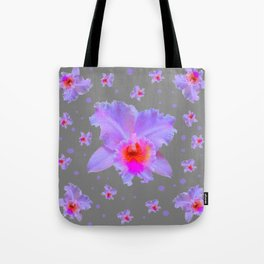 GREY ART TROPICAL LILAC CATTLEYA ORCHID FLOWERS Tote Bag