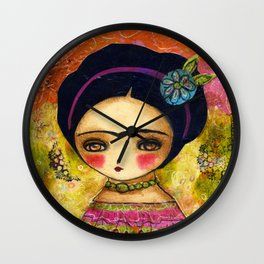 Frida In An Orange And Pink Dress Wall Clock