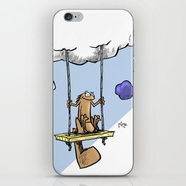 Squirrel swinging on a cloud iPhone Skin