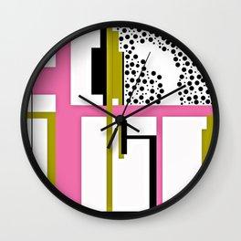 CREATIVE PINK, GREEN AND BLACK PRINT DESIGN Wall Clock