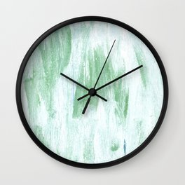 Green white abstract watercolor Wall Clock