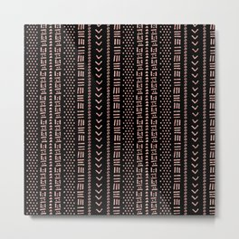 Black and rose-gold dots & dishes geometric pattern Metal Print
