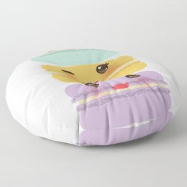 Kawaii macaroon funny orange blue lilac cookie with pink cheeks with pink cheeks and big eyes Floor Pillow