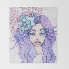 JennyMannoArt Colored Graphite/Keira the Mermaid Throw Blanket
