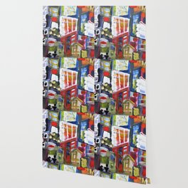 Walking Street Abstract City Scape Blue Red Yellow White Geometric Wallpaper