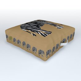 Zebra Elephant Safari Outdoor Floor Cushion