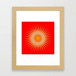 Vibrant Red Sun Mandala Framed Art Print