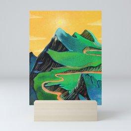 green mountains Mini Art Print