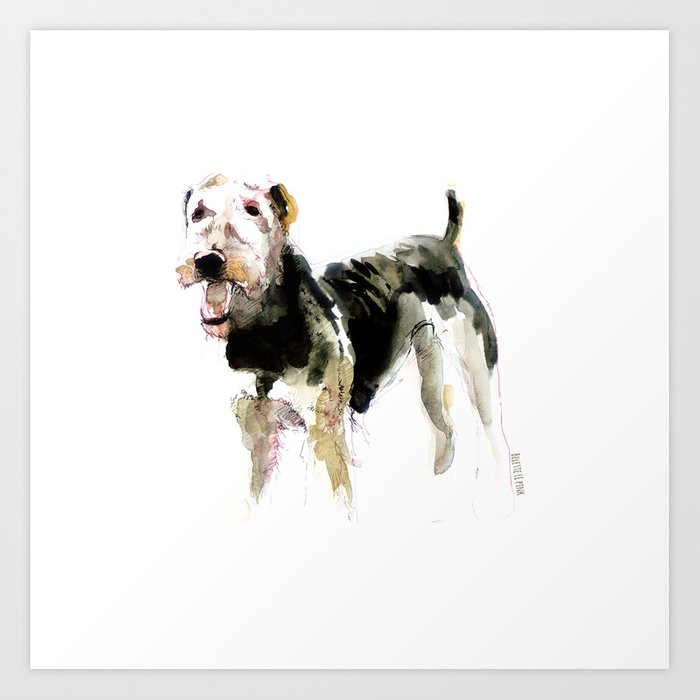 Airedale Terrier on watercolor Art Print