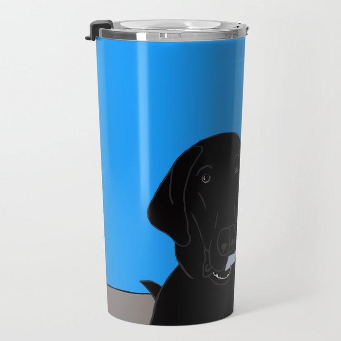 Black Lab With A Bone Travel Mug