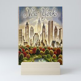 Vintage New York Central Park United Airlines Advertisement Poster Mini Art Print