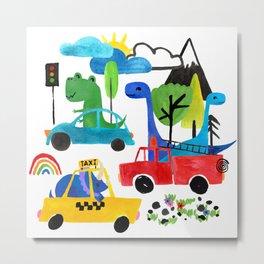 Dinosaur City Watercolor Transportation Pattern Metal Print