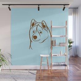 American Akita (Light Blue and Brown) Wall Mural