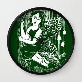 Forest Fairy Printmaking Art Wall Clock