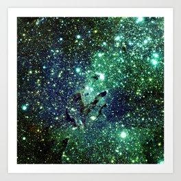 Green Eagle Nebula / Pillars of Creation Art Print