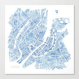 Copenhagen Denmark watercolor city map Canvas Print