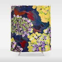 Hydrangea Yellow Shower Curtain