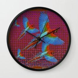 TROPICAL BLUE MACAWS MAROON-BROWN ART Wall Clock