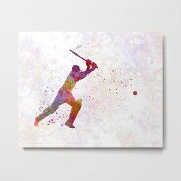 Cricket player batsman silhouette 04 Metal Print