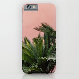 Palms on pink Marrakesh wall lll | Moroccan travel photography Art Print iPhone Case
