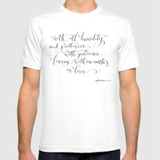 Bearing in Love MEDIUM White Mens Fitted Tee