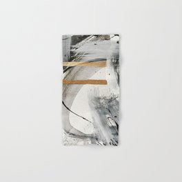 Armor [7]: a bold minimal abstract mixed media piece in gold, black and white Hand & Bath Towel
