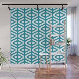 Mid Century Modern Split Triangle Pattern Turquoise 2 Wall Mural