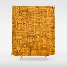 Houses - orange Shower Curtain