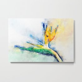 Bird Of Paradise Watercolor Art Metal Print