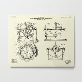 Stellar Compass and Great Circle Course Projector-1902 Metal Print