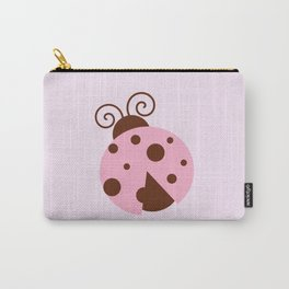 Ladybug (Ladybird, Lady Beetle) - Pink Brown Carry-All Pouch