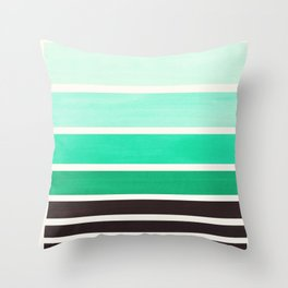 Light Teal Turquoise Green Minimalist Watercolor Mid Century Staggered Stripes Rothko Color Block Ge Throw Pillow