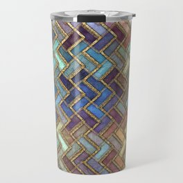 Colorful Royal Gold Geometric Pattern Travel Mug