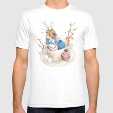 Tea Time in Wonderland White Mens Fitted Tee MEDIUM