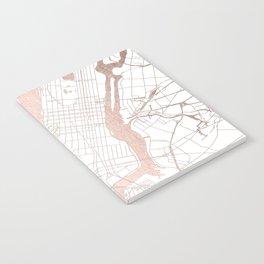 New York City White on Rosegold Street Map Notebook