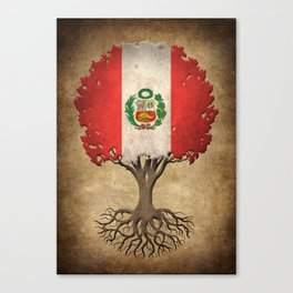 Vintage Tree of Life with Flag of Peru Canvas Print