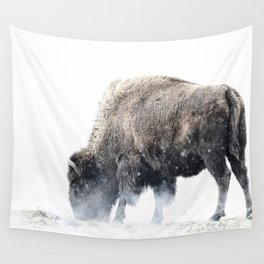 Bison grazing in a snowstorm Wall Tapestry